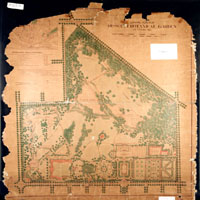 Image of General Plan for the Missouri Botanical Garden looking west showing changes suggested by landscape architectect Frederick Law Olmsted in 1905.  Only the two ponds in the southwest section were actually constructed.