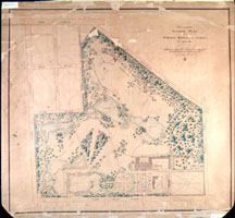 Image of General Plan for the Missouri Botanical Garden looking west showing changes suggested by landscape architects F.L and J.C. Olmsted in 1897.  Only the two ponds in the southwest section were actually constructed.