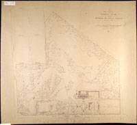 Image of General Plan for the Missouri Botanical Garden looking west showing changes suggested by landscape architectects F.L and J.C. Olmsted in 1897. Only the two ponds in the southwest section were actually constructed.