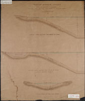 Image of Drawing on paper showing cross sections of water features in Olmsted Plan Synoptical Garden. This would become the North Anerica Tract. The cross sections show order of clay, stone chips and gravel that will line the water features.