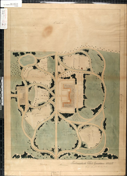 Image of Proposed park garden, drawing of proposed botanical garden, east of the existing Garden, and west of the Compton Heights Reservoir on land then owned by Henry Shaw; draftsperson unknown.