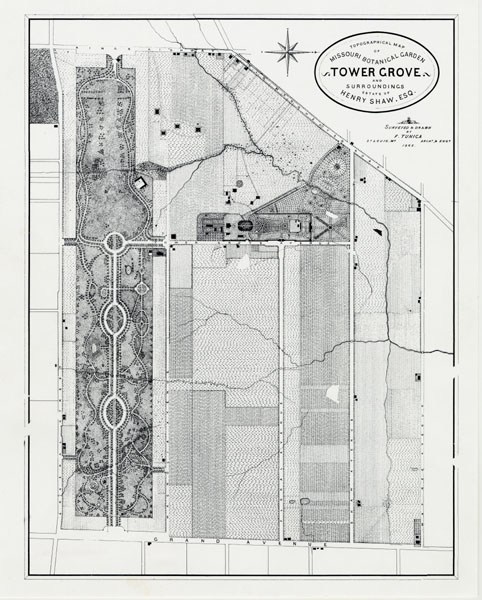 Image of The Garden and Tower Grove Park, topographical plan dated 1865.  Drawing also titled