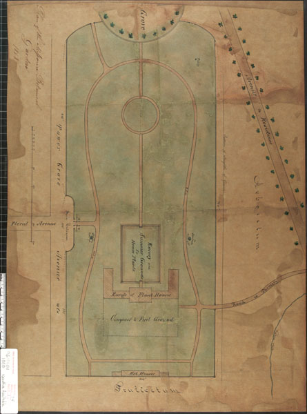 Image of Plan of Missouri Botanical Garden, encapsulated drawing, with some color, dated 1858, negative available; architect or surveyor: unknown