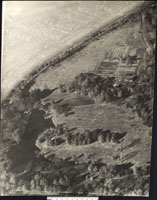 Image of Aerial photos of Missouri Botanical Garden, date unknown; Photographer: The Airphoto Co., St. Louis, MO.  Surrounding area has been given white haze in photograph to emphasize the Garden grounds.