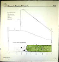 Image of Line drawing map of the Missouri Botanical Garden as it appeared in 1889.  Mounted on foam backer board.
