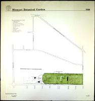 Image of Line drawing map of the Missouri Botanical Garden as it appeared in 1889.  Mounted on foam backer board.