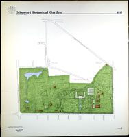 Image of Line drawing map of the Missouri Botanical Garden as it appeared in 1917.  Mounted on foam backer board.