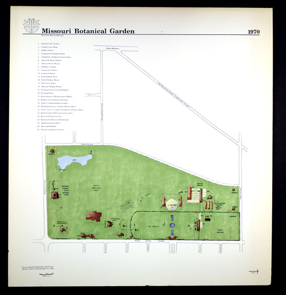 Image of Line drawing map of the Missouri Botanical Garden as it appeared in 1970.  Mounted on foam backer board.
