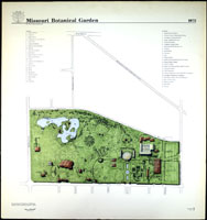 Image of Line drawing map of the Missouri Botanical Garden as it appeared in 1973.  Includes proposed features that were never built.   Mounted on foam backer board.