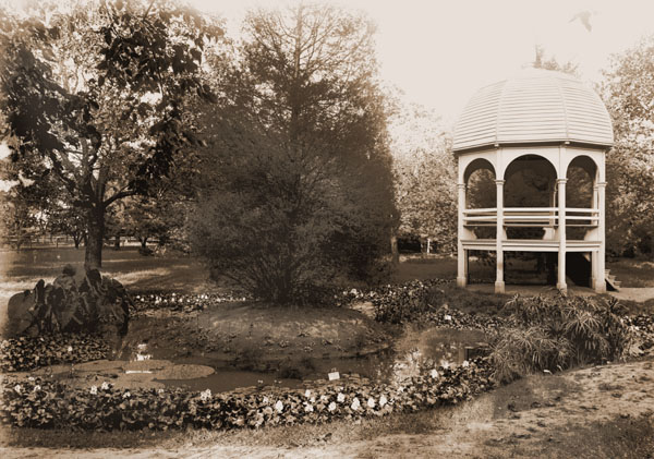 Image of Arboretum.  View of pond and gazebo.  PRINT AVAILABLE -- SEE PHO 1982-0007.
