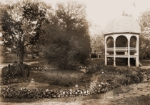 Image of Arboretum.  View of pond and gazebo.