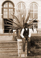 Image of Main Conservatory (1868-1916) greenhouse-Palm house group.  Unidentified gardener.