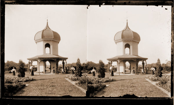 Image of Observatory with visitors and garden view.   Taken from Stereo View.  3- 5x7 in. prints.  PRINTS AVAILABLE -- SEE PHO 1982-0042 and PHO 2006-2812.
