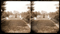 Image of View of women and children on path leading to the Main Conservatory (1868-1916).  Taken from a Stereo View.  PRINT AVAILABLE -- SEE PHO 1982-0043.