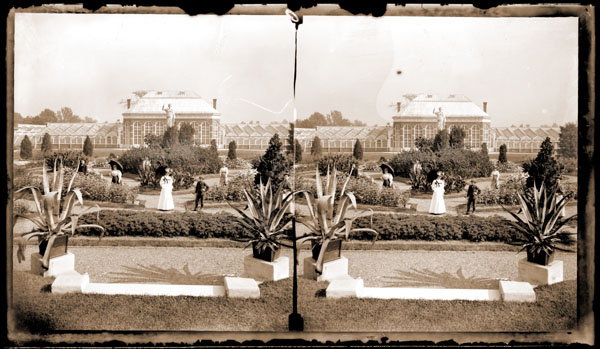 Image of View of Main Conservatory (1868-1916) and Juno showing visitors in the foreground.  Taken from a Stereo View.