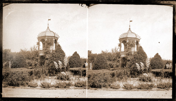 Image of Pavilion located in Fruticetum with lattice work sides.   Stereograph negative.  Similar to, but NOT the same as PHO 2000-0204.
