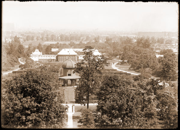 Image of View of the main garden showing the Main Conservatory. View from the top of Tower Grove House residence looking north.  PRINT AVAILALABLE -- PHO 1982-0056.