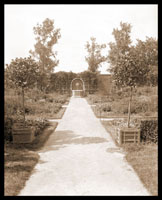 Image of View of Linnaean Garden looking east.  Lion Head Fountain and wall in background.