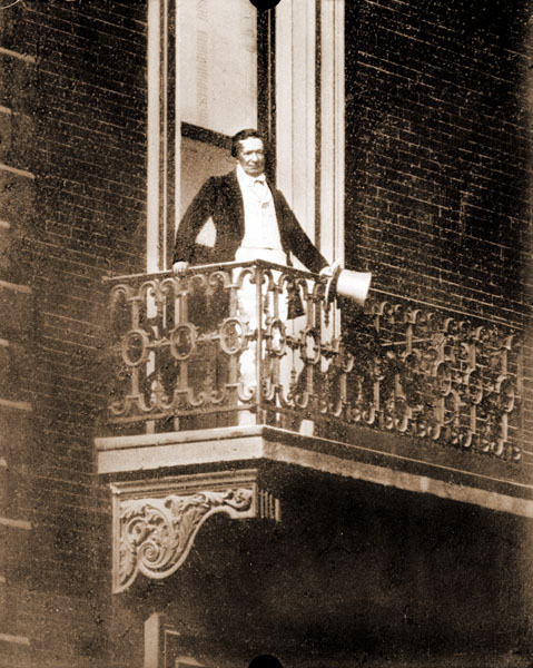 Image of Henry Shaw on balcony of Townhouse at 7th and Locust from daguerrotype.  Copy by Erker Bros. Optical Co., March 30, 1912.