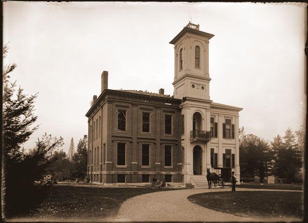 Image of Tower Grove House. Shows the east wing nearly completed. 1- 7x5 in. print.