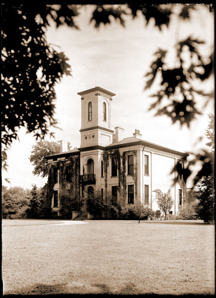 Image of Tower Grove House with vines. View from the north side.