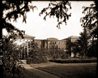 Image of Administration Building.  West side view showing corner of rose arbor.