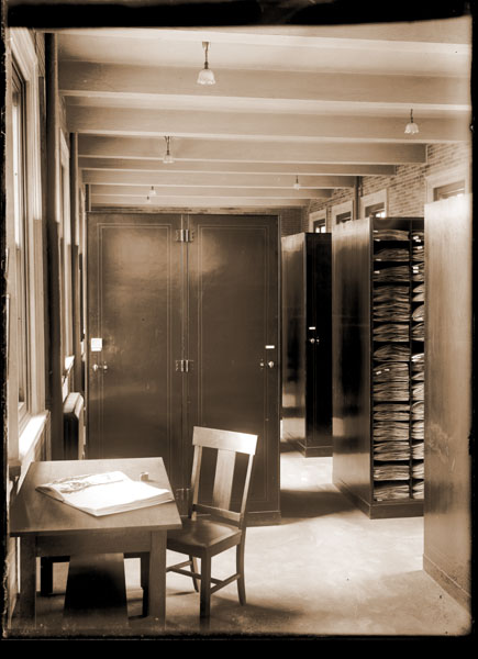 Image of Administration Building interior.  Herbarium showing steel cases.