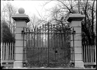 Image of Gate at end of old sod driveway that ran north northwest from Tower Grove House through Shaw's private garden.