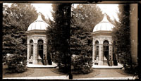 Image of Mausoleum with ladies in front.  Taken from a Stereo View.