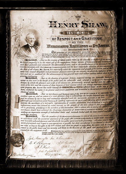 Image of Testimonial to Henry Shaw by the Merchant's Exchange of St. Louis.