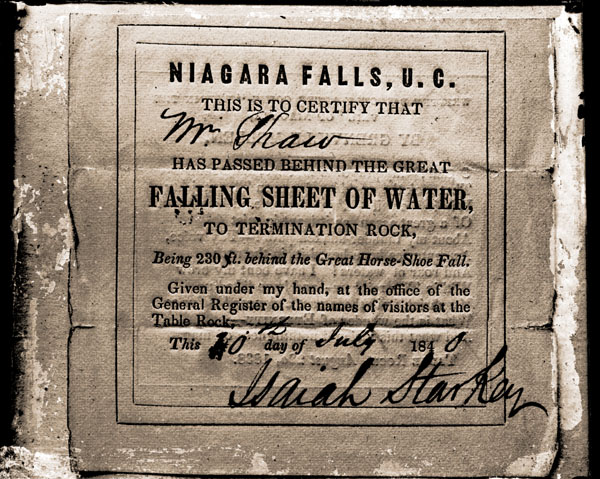 Image of Henry Shaw Memorabilia.  Certificate issued at Niagara Falls in 1840.