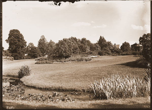 Image of The Knolls looking southeast.  Cleveland Ave. Gatehouse in background.