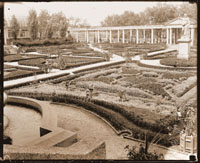 Image of Italian Garden.  Pergola (extends on north-south axis) in background.  Juno visible to the right.