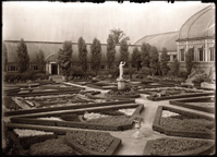 Image of MBG Italian Garden (a.k.a. the Formal Garden).  South side, Desert House.  PRINT AVAILABLE -- SEE PHO 1982-0265.  The Pergola was the open row of columns and trellises bordering the west side of the Italian Garden.  The Arbors were the two roofed structures at the center of the Pergola.  The Greenhouse which made up the surrounding border of the Italian Garden was -- as a whole -- referred to as the Conservatory or the Italian Garden Greenhouse, with each part of the building segmented into; Desert House, Cycad and Fern House, Economic House, South African House, and Palm House.  After the Palm House was torn down, the remaining south and north buildings were called the Desert House and the Mediterranean House.