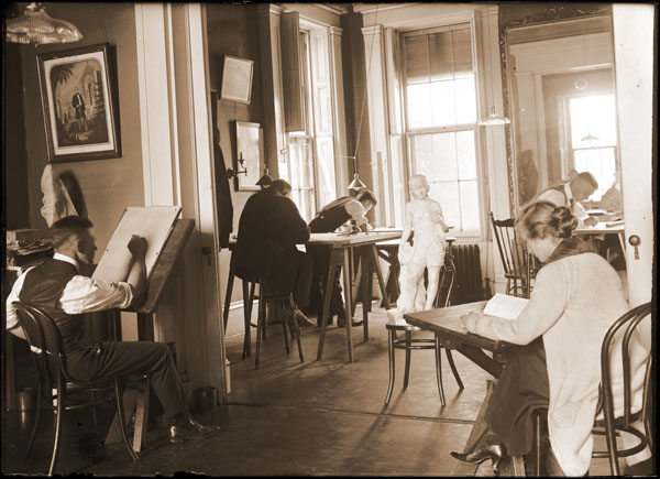Image of School of Gardening.  Students at drafting tables in 2 west parlors at Tower Grove House.  One 7x5 in. print at PHO 2007-1222.  Copy negative available at PHO 2007-1211.