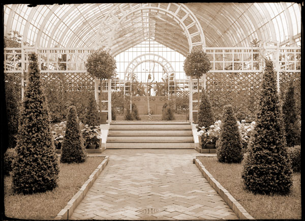 Image of Shakespearean Garden with view in Floral Display House looking toward south end.  John Noyes design using topiary work.