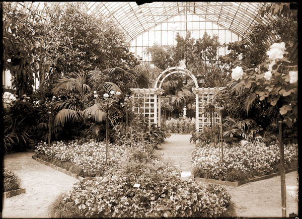 Image of 1924 Spring Flower Show. View in Floral Display House looking north. Marble statue of lady with rose in background.