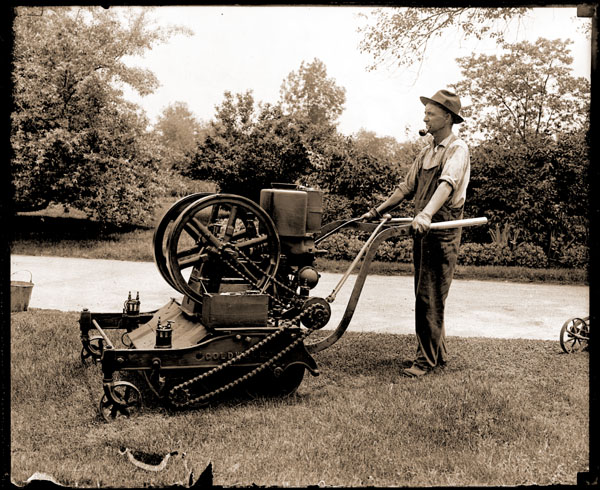 Image of The first power mower in the Missouri Botanical Garden. The mower was gasoline driven and water cooled.  1- 7x5 print.