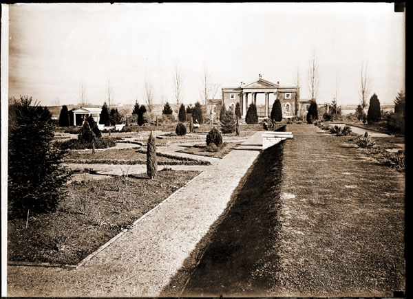 Image of Parterre in Main Garden with view looking east. This is a copy of an old photo, about 1860. Photograph copied March, 1909.  PRINT AVAILABLE, SEE PHO 1982-0355 PHO 2006-3059, and Pho 2006-3060.  Negative available at PHO 2006-3061.