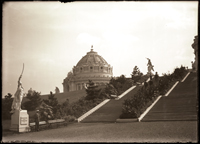 Image of System of planting along steps leading to the top of Cascade Hill.  Cannas were used almost exclusively in this planting.  1 5x7 in. print.