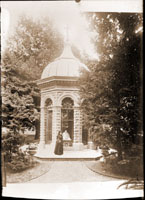 Image of View of the Mausoleum, with Mrs. Trelease in mourning.  1889.