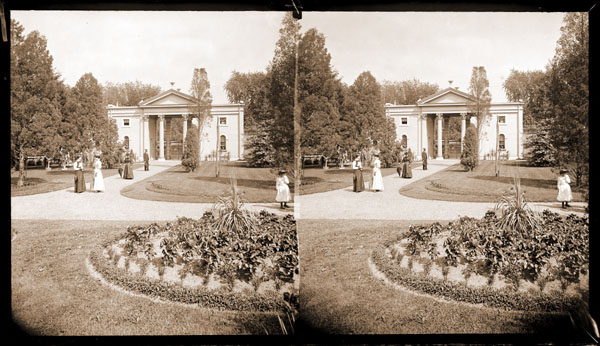 Image of Main Gate interior view with ladies on path.  Two copy negatives available.  PRINTS AVAILABLE -- SEE PHO 1984-0002, PHO 2006-2450 and PHO 2006-2507.  Negatives available at PHO 2006-2508 and PHO 2006-2509.