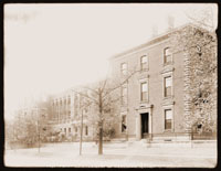 Image of Administration Building with south addition soon after construction. View is from the east side of the building.  black and white print.