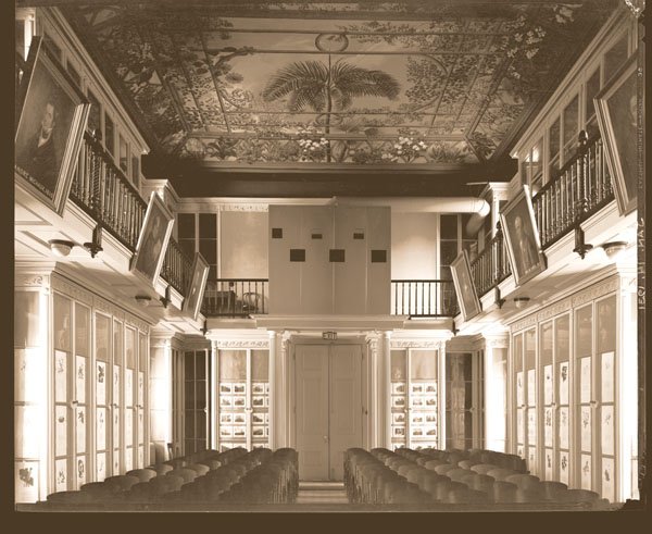 Image of Museum building interior, north end.  Projection booth on upper level.  Print available at PHO 2006-2757.