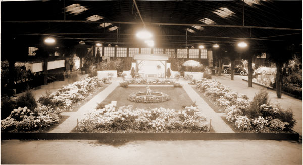 Image of Missouri Botanical Garden Formal Garden display at the 1935 Greater St. Louis Flower and Garden Show.  Event was held in the Arena.  Paul Kohl, designer.