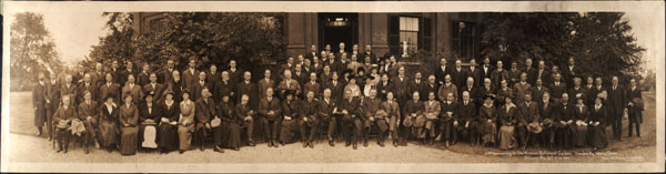 Image of Anniversary MBG, 25th year of Trustee's control 1889-1914, 3 parts.  Staff and associates per list.  Oct. 15-16, 1914.  In front of MBG Tower Grove House.  2nd cp. in map case.