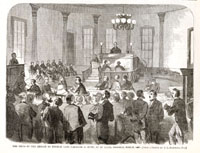 Image of Sketch of the Breach of Promise Case, Carstang vs. Shaw, at St. Louis, Missouri, 1860.  Published in Harper's Weekly, March 31, 1860.