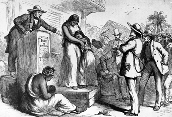 Image of While a merchant in St. Louis Shaw began buying enslaved people in the 1820s with the earliest existing record being that of Peach in 1828. 1850 census records indicate Shaw owned nine enslaved people and by 1853 that number had grown to eleven, 1860 census records show him with eight enslaved people. Their names were not listed in either the 1850 or 1860 U.S. Census. Please see the historical timeline section for more information on this subject. Image is for reference.