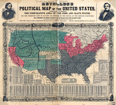 Image of Reynold's Political Map of the United States from 1850.