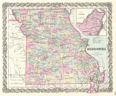 Image of Colton's map of Missouri from George Washington Colton's 1855 Atlas of the World.